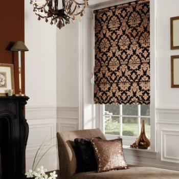 gold and black patterned roman blinds