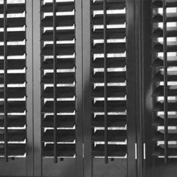 black wooden shutters