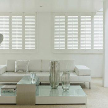 White Faux Wooden Shutters