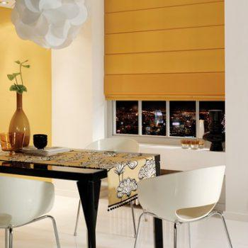 yellow kitchen roman blinds