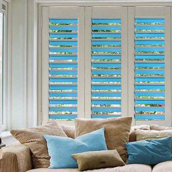 bi fold blinds in blue