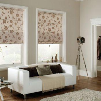 cream floral roman blinds