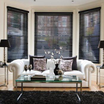 Faux Black Wooden Shutters