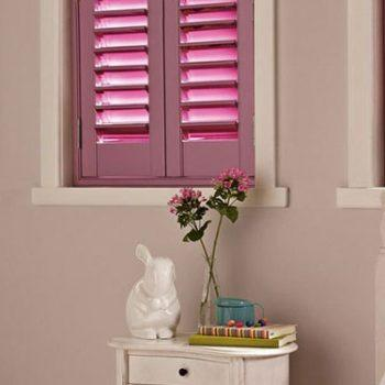 pink plantation shutters