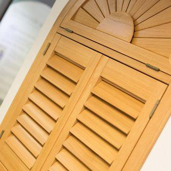 shaped wooden shutters