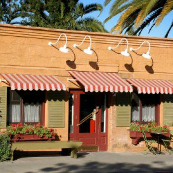red & white awnings