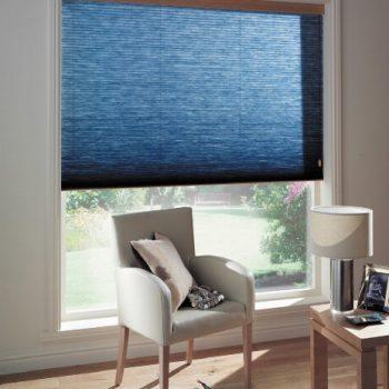 dark blue pleated blinds