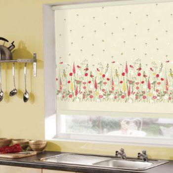 cream floral roller blinds