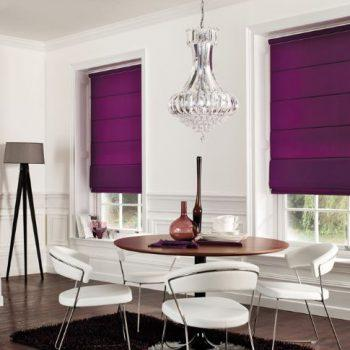 roman blinds in purple