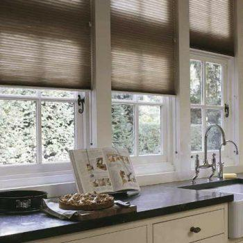 honeycomb blinds in brown