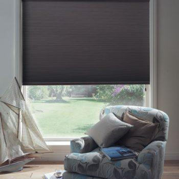dark grey pleated blinds