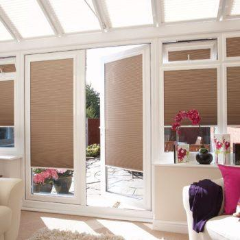 beige pleated blinds