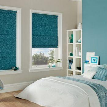 blue patterned roman blinds