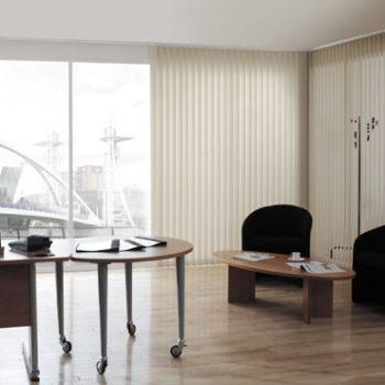 cream office vertical blinds