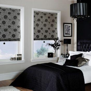 grey floral roman blinds