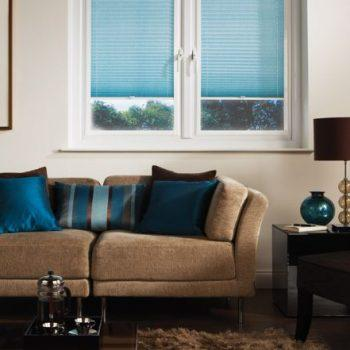 aqua blue pleated blinds