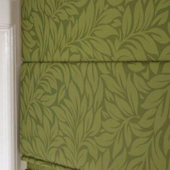 green leaf design roman blinds