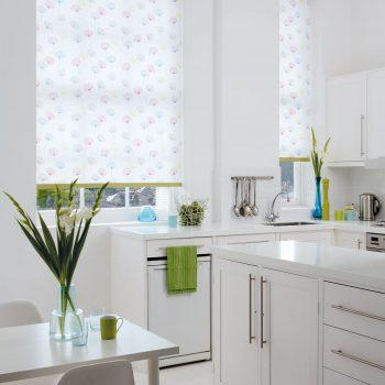 white patterned blinds