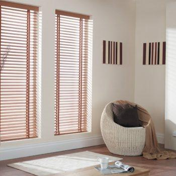 Chestnut venetian blinds