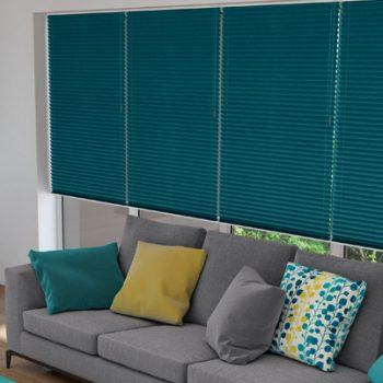 Pleated Blinds in Teal