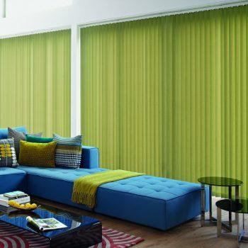 green vertical blinds
