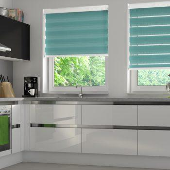 Teal honeycomb blinds
