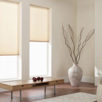 cream living room pleated blinds