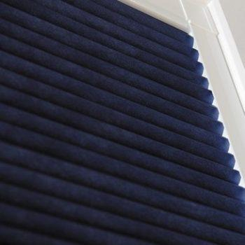 navy pleated blinds