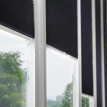 navy blue pleated blinds
