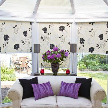 Rose Black roller blinds