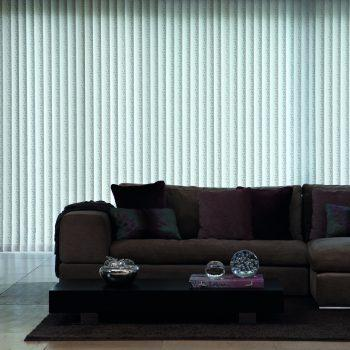 white patterned vertical blinds
