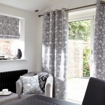 grey patterned curtains