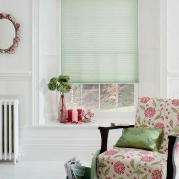 pleated blinds in green