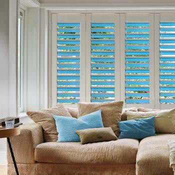 blue bi-folding door blinds